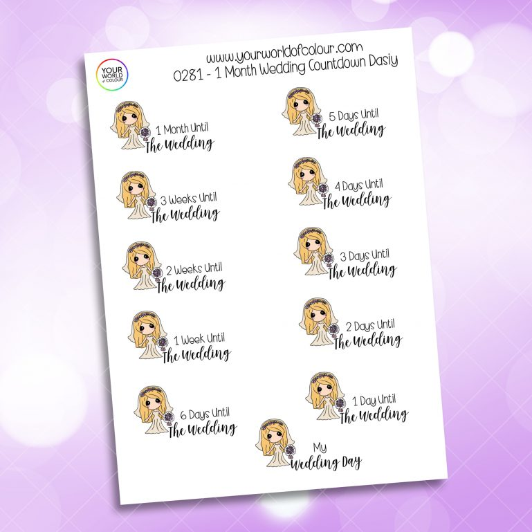 1 Month Wedding Countdown Daisy Character Sticker