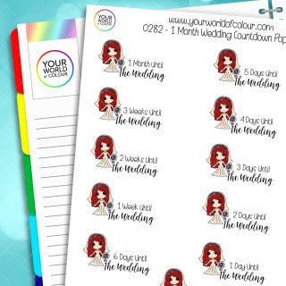 1 Month Wedding Countdown Poppy Character Stickers