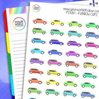 Rainbow Car Planner Stickers