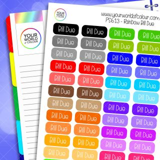 Rainbow Bill Due Planner Stickers