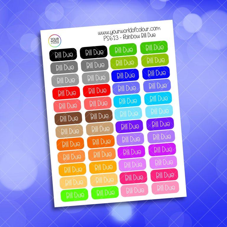 Rainbow Bill Due Planner Sticker