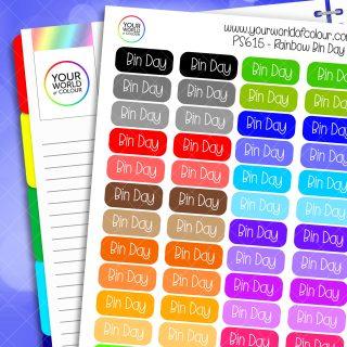 Rainbow Bin Day Planner Stickers