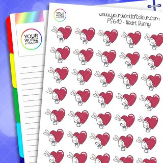 Heart Bunny Planner Stickers