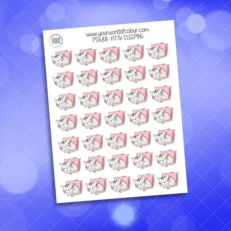 Kitty Sleeping Planner Sticker