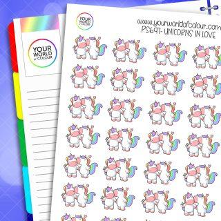 In Love Unicorn Planner Stickers