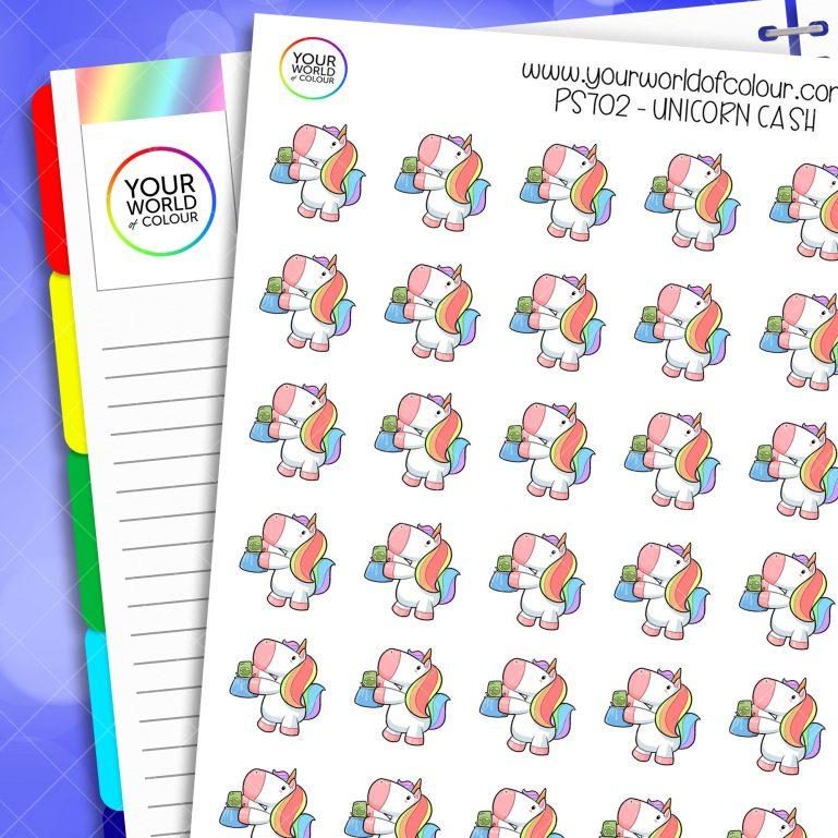 Cash Unicorn Planner Stickers