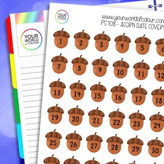 Acorn Date Cover Planner Stickers