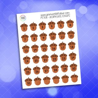 Acorn Date Cover Planner Sticker