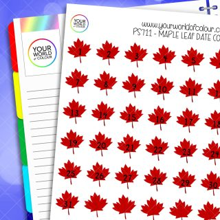 Maple Leaf Date Cover Planner Stickers