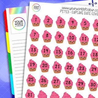 Cupcake Date Cover Planner Stickers