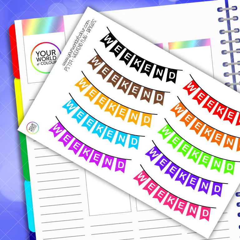 Bright Weekend Banner Planner Stickers