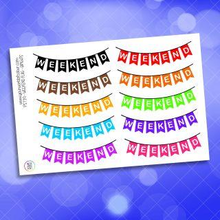Bright Weekend Banner Planner Sticker