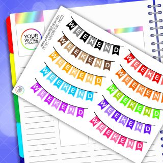 Mixed Weekend Banner Planner Stickers