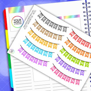 Pastel Weekend Banner Planner Stickers
