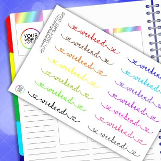 Bright Heart Weekend Banner Planner Stickers
