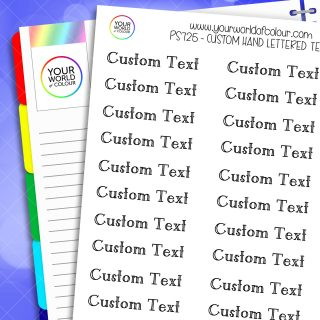 Custom Hand Lettered Text Planner Stickers