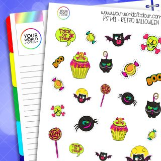 Retro Halloween Planner Stickers