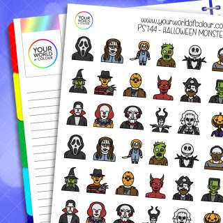 Halloween Monsters Planner Stickers