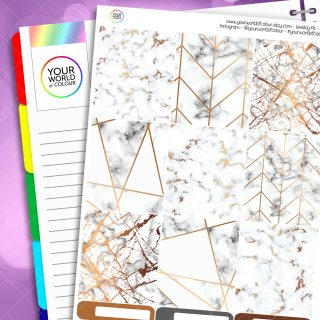 Marble Golden Geo Weekly Planner Sticker Kit