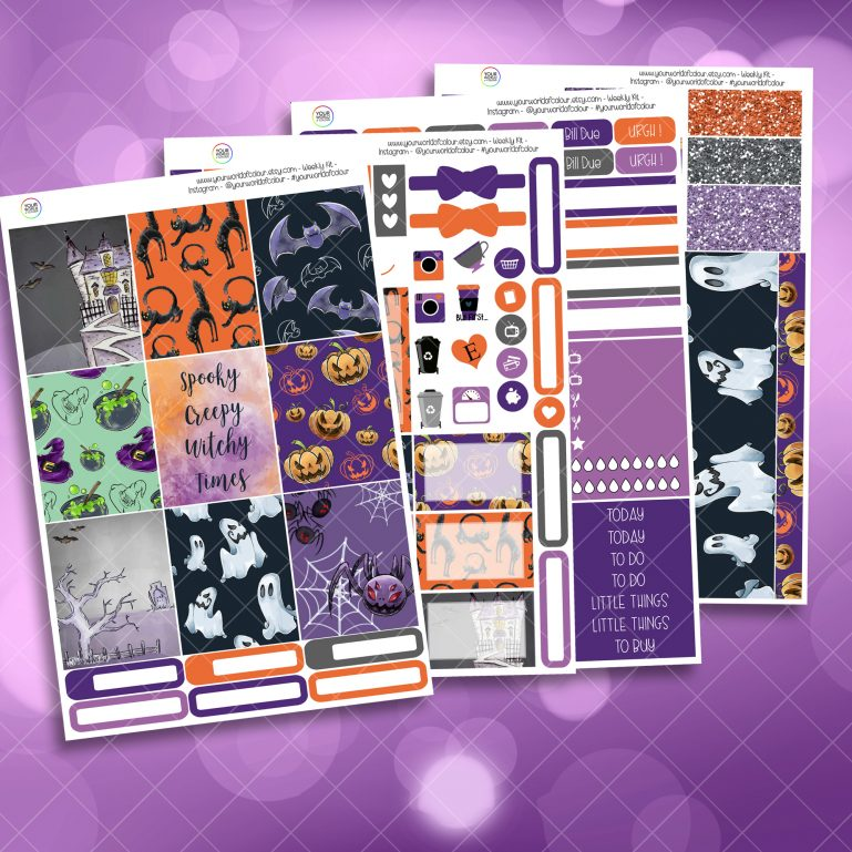 Creepy Full Four Sheet Weekly Planner Sticker Kit