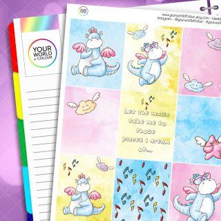 Musical Dragons Erin Condren Weekly Planner Sticker Kit