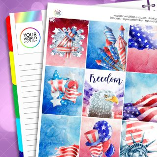Freedom Erin Condren Weekly Planner Sticker Kit