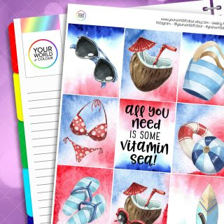 Just Beachy Erin Condren Weekly Planner Sticker Kit
