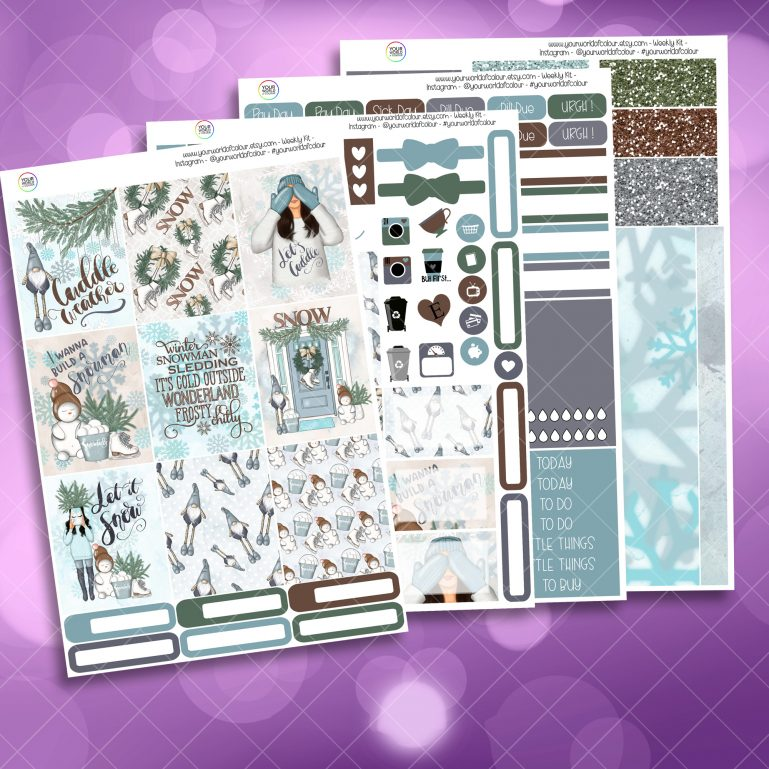 Let It Snow Full Four Sheet Weekly Planner Sticker Kit