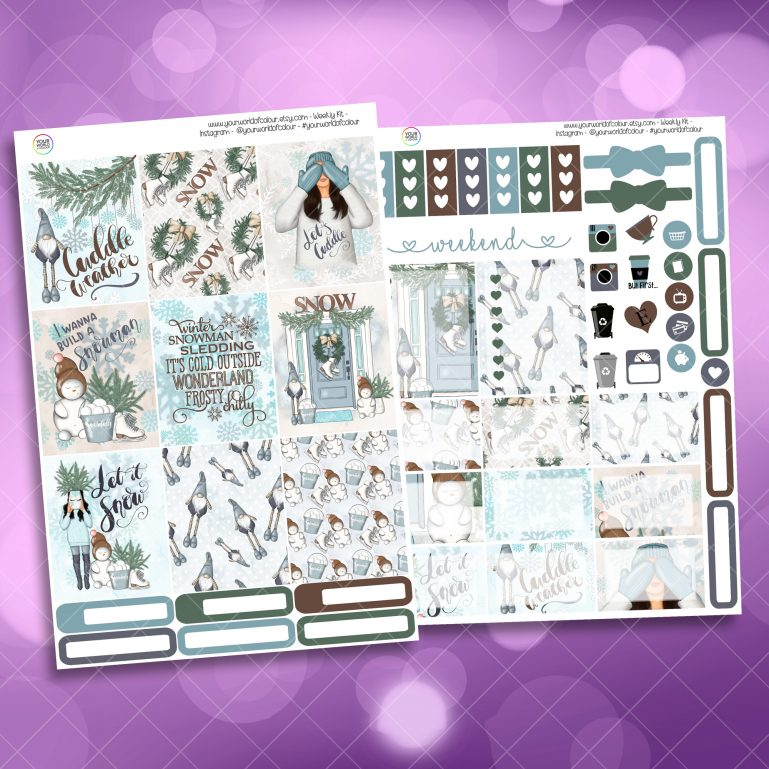 Let It Snow Two Sheet Weekly Planner Sticker Kit