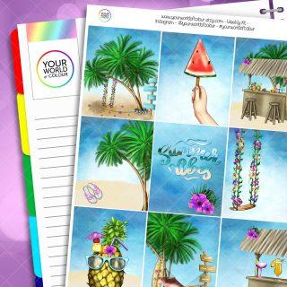 Summer Vibes Erin Condren Weekly Planner Sticker Kit