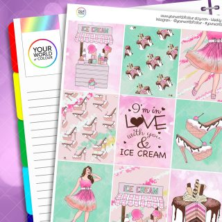 Ice-Cream Erin Condren Weekly Planner Sticker Kit