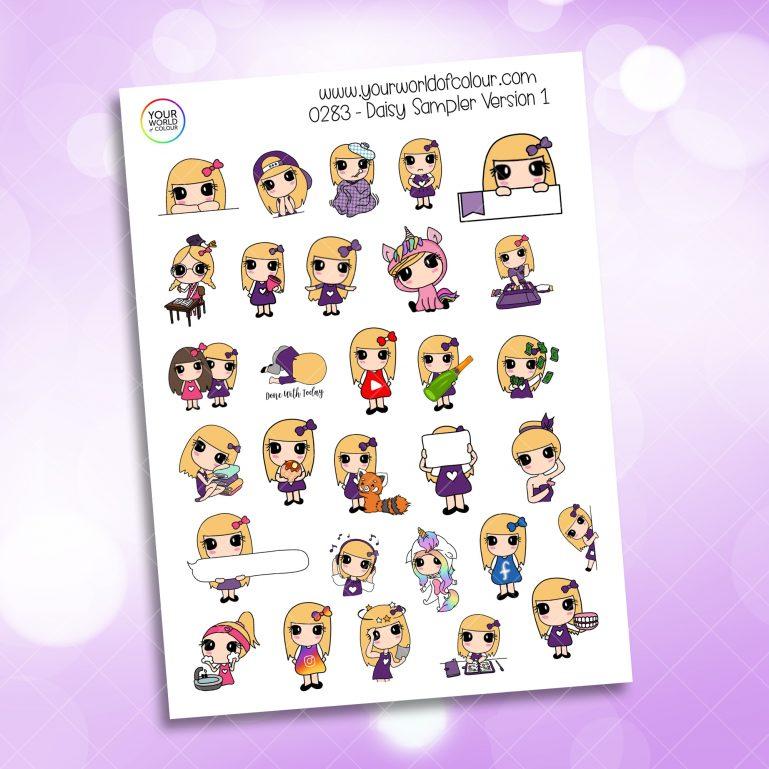 Sampler Daisy 1.0 Character Sticker