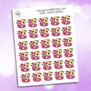 Flamingo Daisy Character Sticker