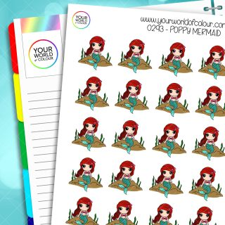 Mermaid Poppy Character Stickers