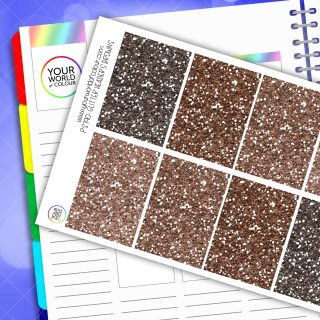 Glitter Header Planner Stickers - Browns
