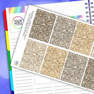 Glitter Header Planner Stickers - Neutral