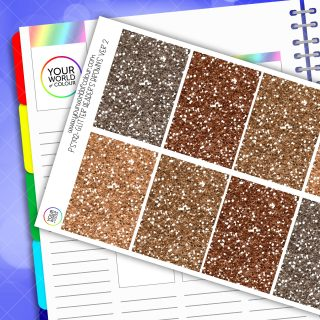 Glitter Header Planner Stickers - Browns Version 2