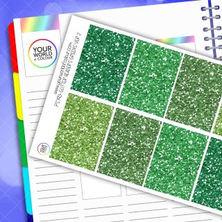 Glitter Header Planner Stickers - Greens Version 2