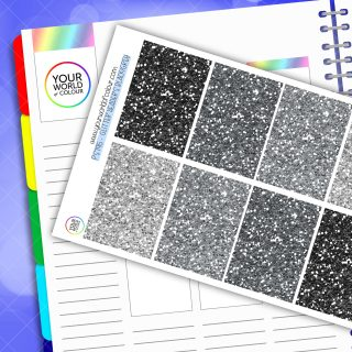 Glitter Header Planner Stickers - Black Grey