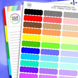 Rainbow Scallop Label Planner Stickers