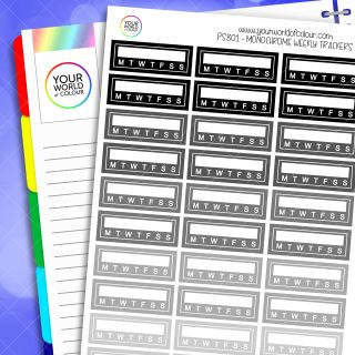 Weekly Tracker Planner Stickers - Monochrome