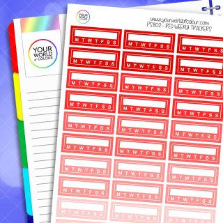 Weekly Tracker Planner Stickers - Reds