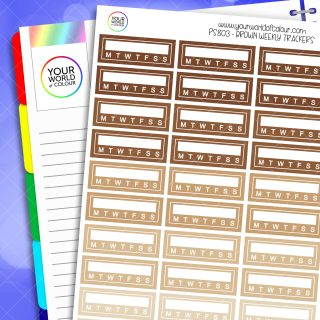 Weekly Tracker Planner Stickers - Browns