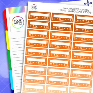 Weekly Tracker Planner Stickers - Oranges