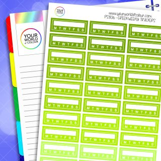 Weekly Tracker Planner Stickers - Greens