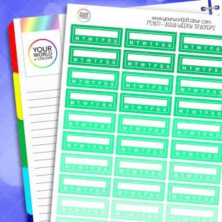 Weekly Tracker Planner Stickers - Aquas