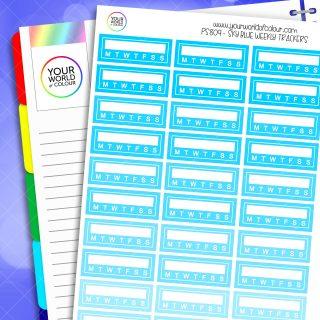 Weekly Tracker Planner Stickers - Sky Blues