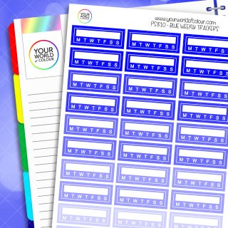 Weekly Tracker Planner Stickers - Blues