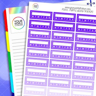 Weekly Tracker Planner Stickers - Purples