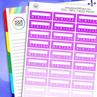 Weekly Tracker Planner Stickers - Purples 2